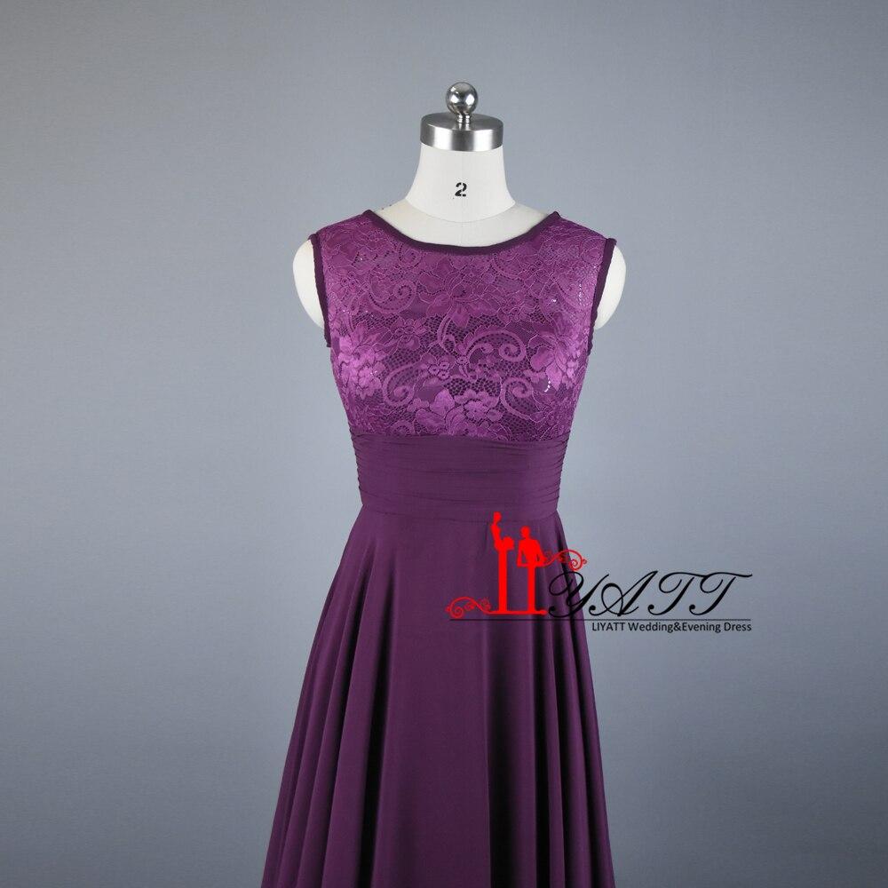2016 Real Photo Preiswerter Dark Purple Brautjungfer Kleid Scoop ...