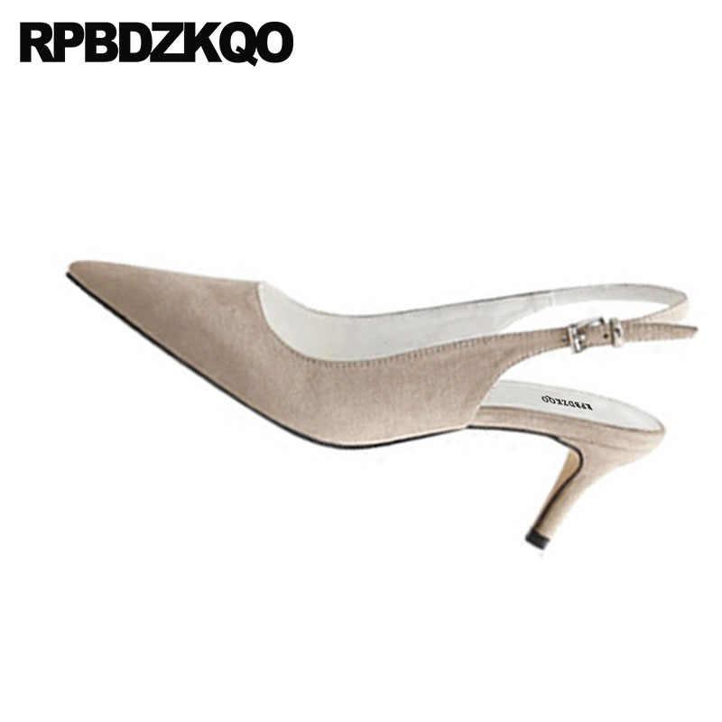 b90e4aabb95 ... Slingback Size 33 Orange Shoes Women Sandals 3 Inch Suede Pumps  Stiletto Plus High Heels Summer ...