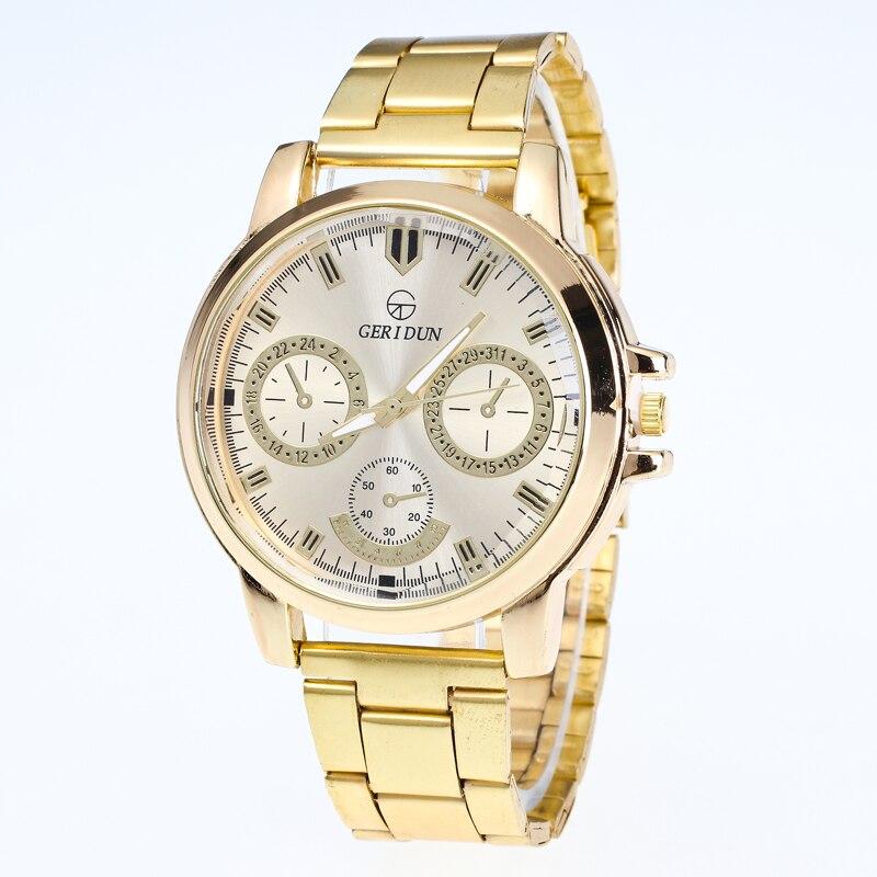 Geridun Relogio Masculino Luxury Brand Gold Watches Men Women 2017 Full Steel Three Eyes Dial Quartz Wristwatch For Women Men