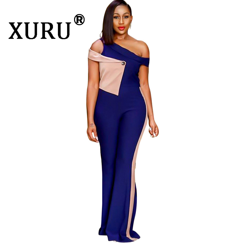 XURU summer new womens hot sale jumpsuit sexy fashion contrast color mosaic shoulder horn