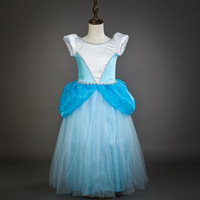 Mode filles conception robe vintage puffy manches princesse tulle enfants cendrillon robe