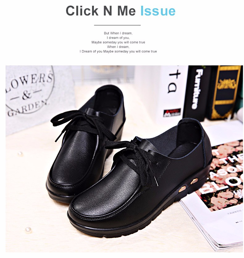 Women Oxfords Leather Shoes New Arrival Round Toe Lace Up Casual Women Flats Size 35-41 Flat Heels Platform Ladies Shoes NX27 (12)