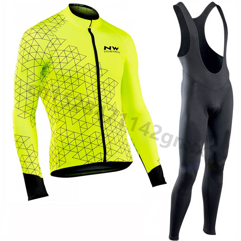 2019 Nw pro team long sleeve cycling jersey Set bib pants ropa ciclismo bicycle clothing MTB bike jerseys Uniform Mens clothes in Cycling Sets from Sports Entertainment
