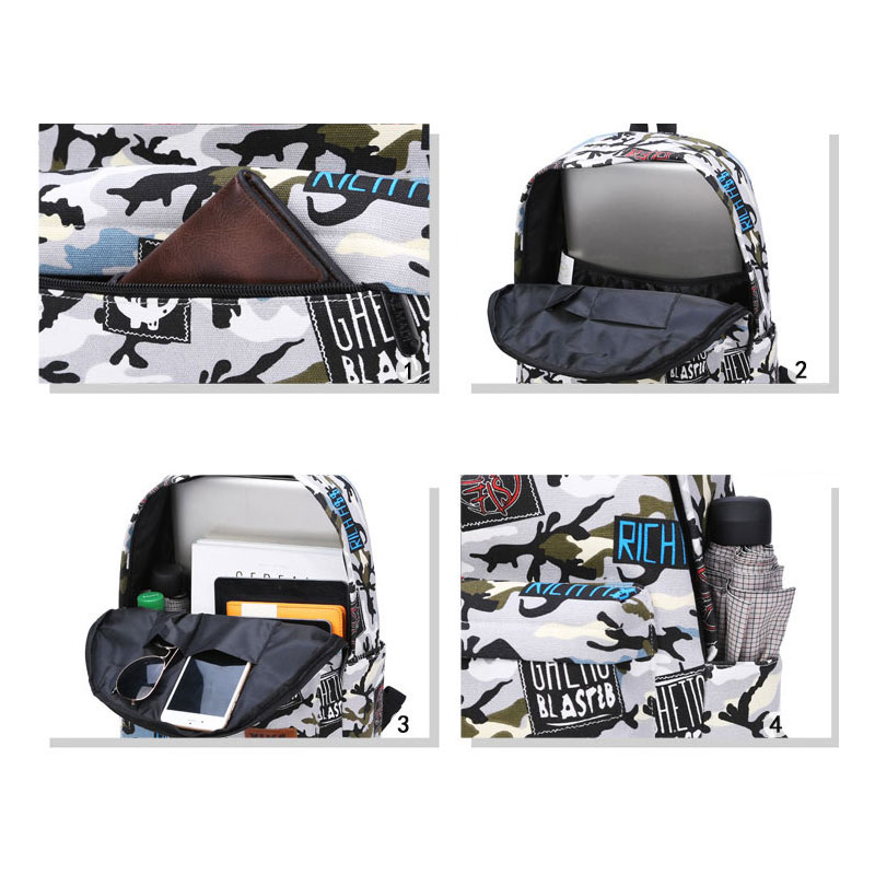 Women Travel Backpack Teenage Girls Schoolbag Large Capacity Canvas Female Rucksack Camouflage printting college style bookbag in Backpacks from Luggage Bags