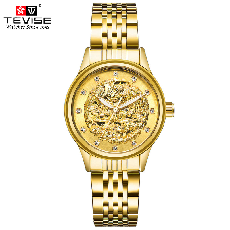 TEVISE Automatic Mechanical Watches Women Luxury Gold Stainless Steel Strap 13mm Ladies Wrist Watches Phoenix Pattern 9006 tevise luxury brand fashion phoenix women watches luminous clock womens steel gold bracelet automatic mechanical ladies watch