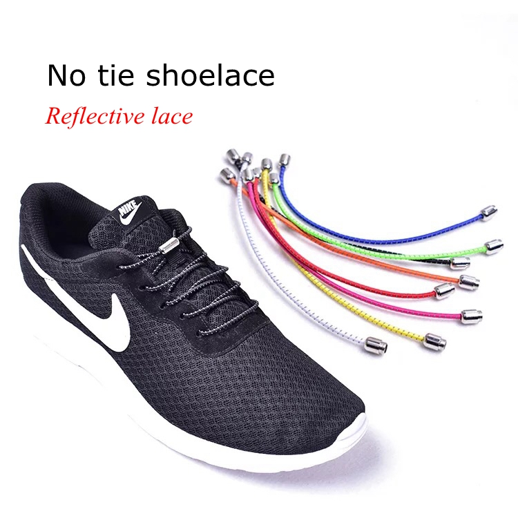 No Tie Shoelaces Elastic Reflective Shoelaces Sports Lazy Laces For Kids Adult