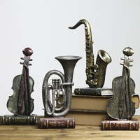 European Style Resin Saxophone Violin Model antique musical instrument model Creative wine cabinet small Home Decoration