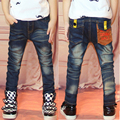 Boy jeans fall and winter 2016 children's clothing plus velvet warm children's trousers baby cotton Slim feet new jeans