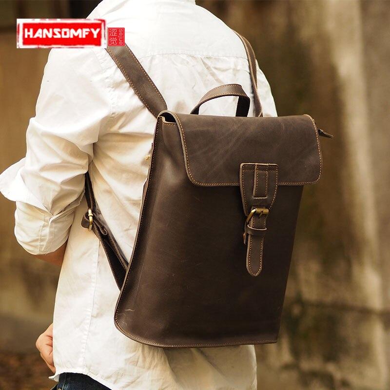 Retro fashion men's shoulder bag locomotive import crazy horse vintage backpack single-function male travel bags milardo fairyland violet 471pa58m12