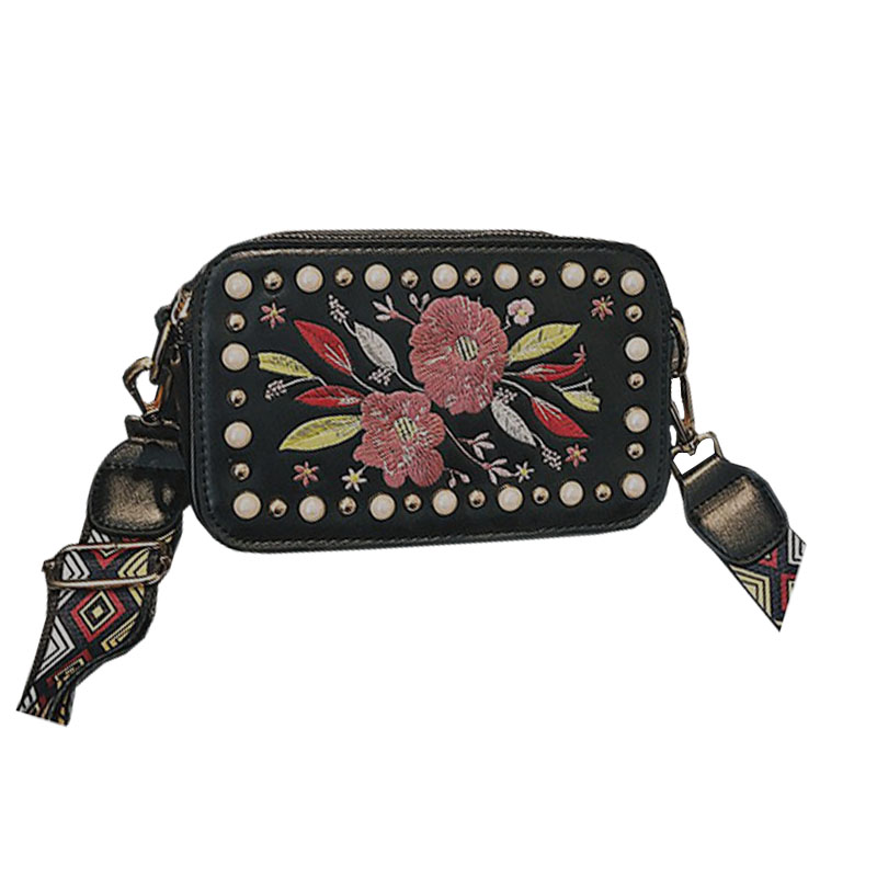 Ethnic Style Pearl Design Women Ladies Handbag Floral Embroidery Shoulder Bag Colorful Wide Strap Messenger Bag