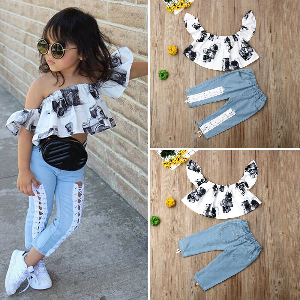 Pudcoco 2019 Child Baby Kid Girl Camera Printed Off Shoulder Tops +Jeans Pants Outfit Set Toddler Girl Clothes Children Clothes