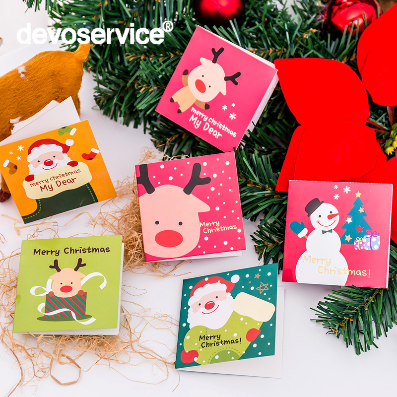 12 Pcs/lot Kawaii Mini Christmas Greeting Card With Envelope Cute Christmas Day Blessing Message Paste Card Party Decoration