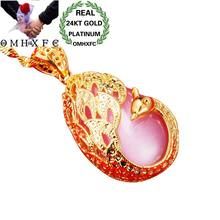 OMHXFC Wholesale European Fashion Woman Party Birthday Wedding Gift Peacock Water Drop Opal 24KT Real Gold Charm Pendant PN255(China)