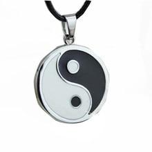 Colar pingente de yang de aço inoxidável, colar masculino preto e branco, colar de couro pu, joias, vintage