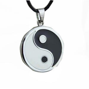 Pendant Necklace Jewelry Vintage Yin Stainless-Steel Black Men