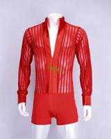 sexy Real Dance Costumes for Latin Dress World Fashion Adult Male Men Lace Very Sexy Latin Long Sleeve Shirt With Underwear