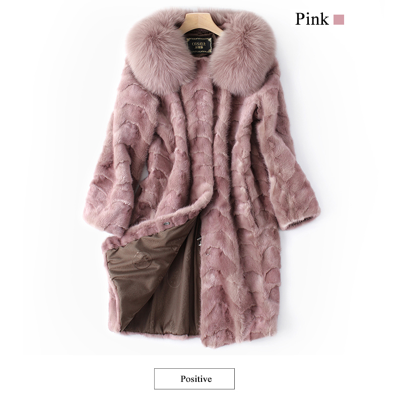 Mink and Fox Fur Coat Natural Fur Mink Coats Real Mink Coat 85CM Pink waistcoat Women`s Winter Genuine Fur Jackets Ship By DHL