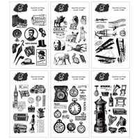 Vintage gentleman clock transparent silicone clear stamp for scrapbooking DIY craft decoration stamp kids stationery