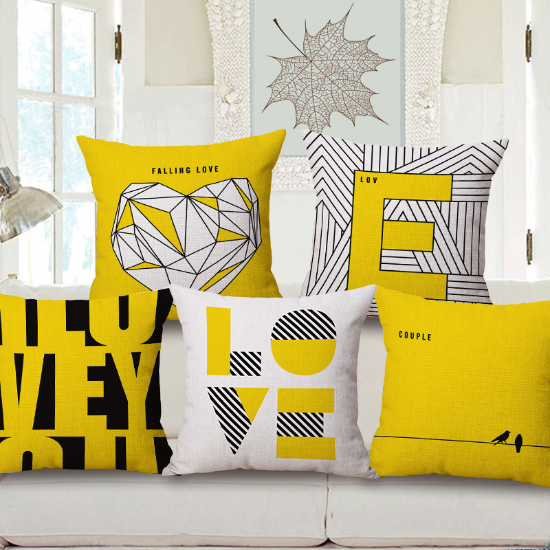 Yellow Linen Throw Pillow : Fashion High Quality Cotton Linen Yellow Simple Geometry Letter LOVE Decorative Throw Pillow ...