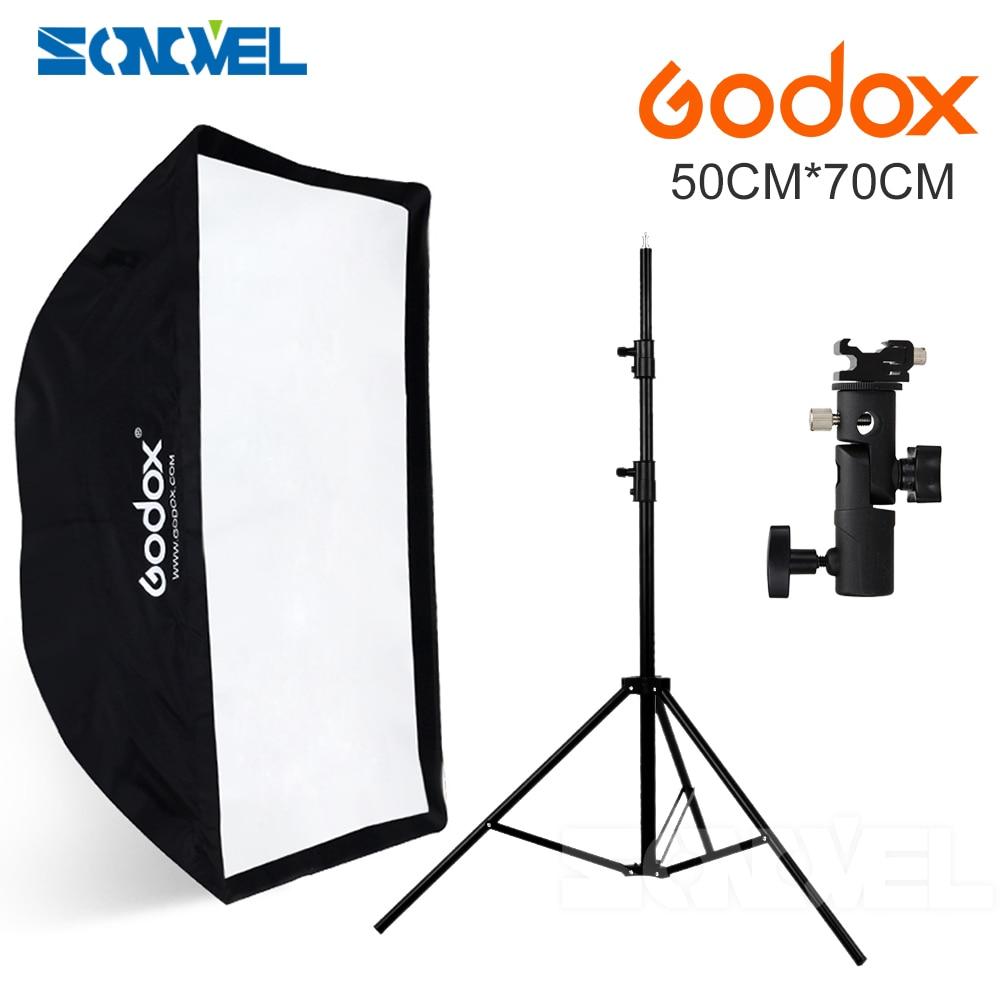 Godox 50x70cm umbrella softbox hot shoe bracket 190cm light stand kit for Speedlite Flash