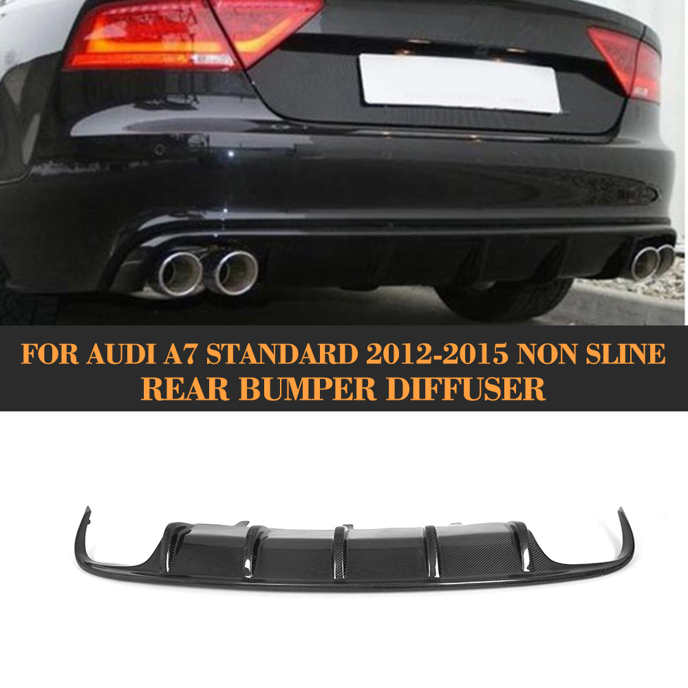 Carbon Fiber car <font><b>rear</b></font> lip <font><b>diffuser</b></font> spoiler with Exhaust for <font><b>Audi</b></font> <font><b>A7</b></font> standard hatchback 4 door 12-15 Non S7 Sline image