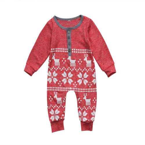 Christmas Baby Infant Boy Girl Clothes Long Sleeve Deer Snowflake Romper Cotton Jumpsuit Outfits Clothes newborn infant baby boy girl clothes long sleeve printing romper toddler baby cotton summer one piece outfits