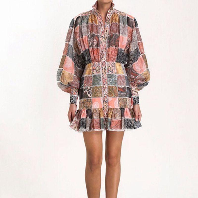Designer dames imprimer robe Vintage à manches longues femmes robes 2019