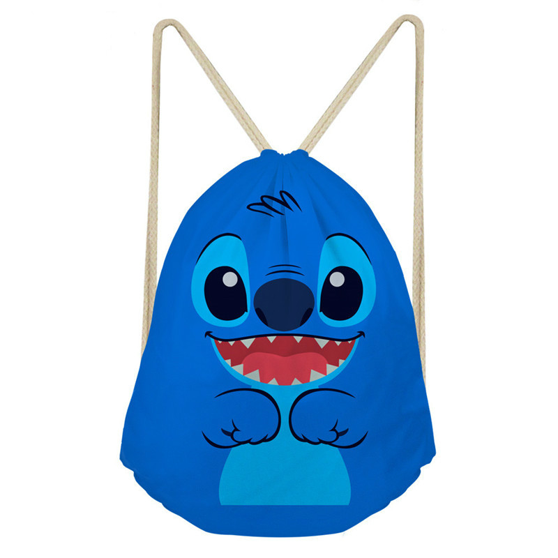 ThiKin Lilo Stitch Drawstring Backpack Shoulder Bag Unisex Storage Travel Bags School Kids Adult Backpacks Anime