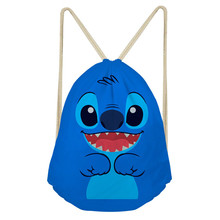 ThiKin Lilo Stitch Drawstring Backpack Shoulder Bag Unisex Storage Travel Bags School Kids Adult Backpacks Anime New