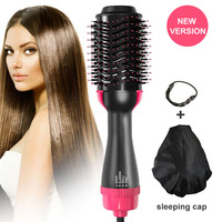 One Step Hair Dryer Comb Volumizer Brush Straightener Curler+Sleep Cap+2pcs Wig Rope MSI 19