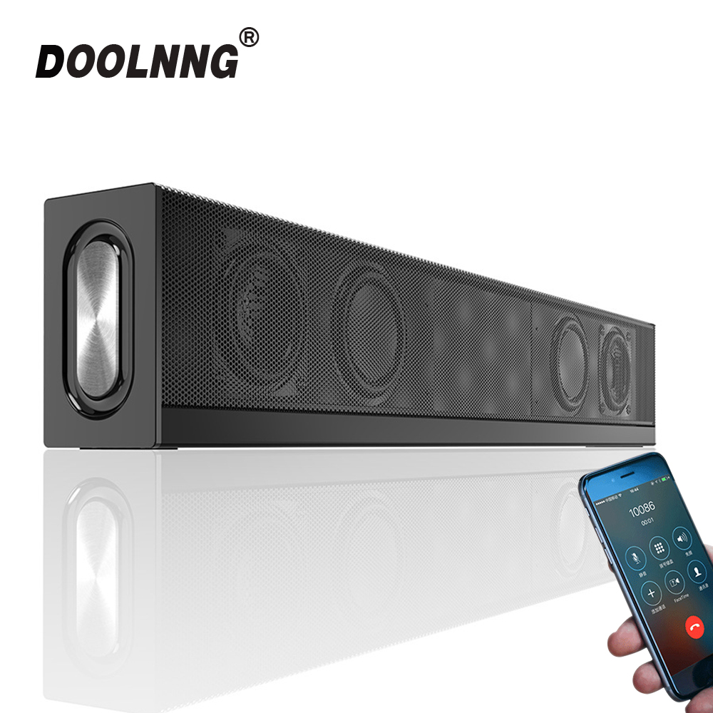 DOOLNNG 20W Bluetooth Speaker Home Theater Soundbar Subwoofer Falante Portátil Super Bass Sem Fio Do Computador PC TV Rádio FM Mic