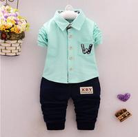 2017 Autumn Baby Boys Clothes Sets Solid Color Lapel Infant Cotton T Shirt + Pants 2 Pcs Casual Sport Kids Child Suits
