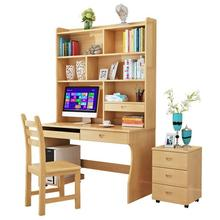 Wooden shelves combination household with bookcase student computer writing desk wood
