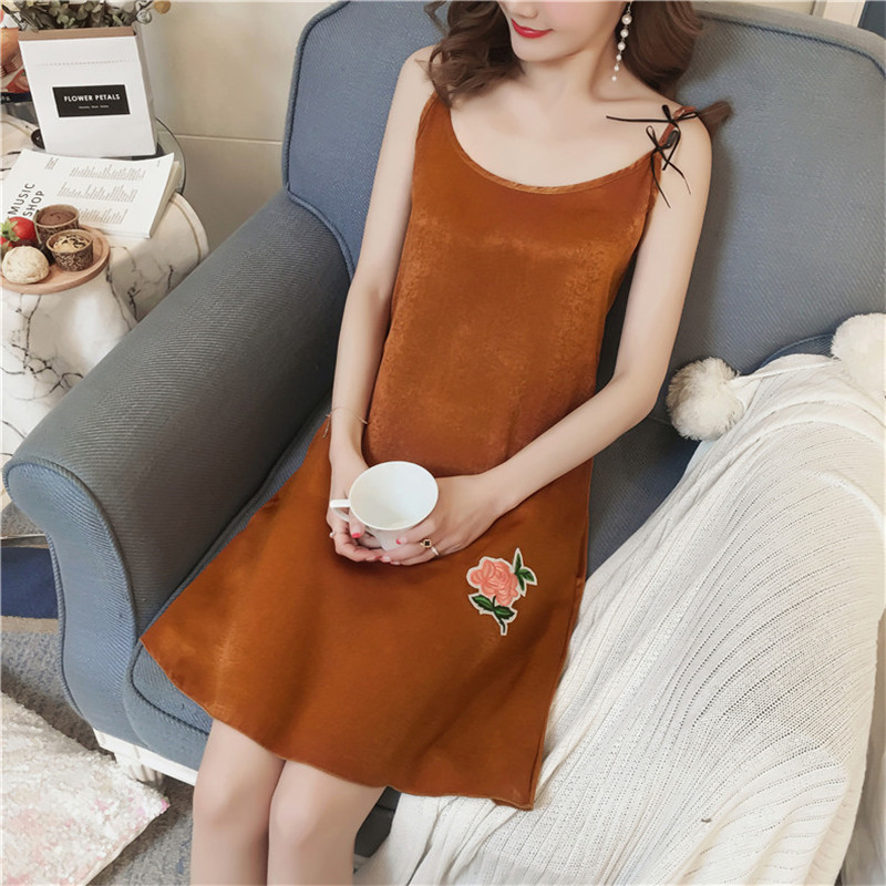 Young Girl 2018 WAVMIT Summer Girl Short Sleeveless Silk Nightgown for Women Lovely Nightshirt Women Sexy Silk Sleepwear
