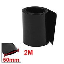 Uxcell 50 мм плоский Ширина 2 м Длина ПВХ термоусадочная трубка черного цвета для 18650 батареи изоляционный кожух терм усадочная Горячая Sale1PCS