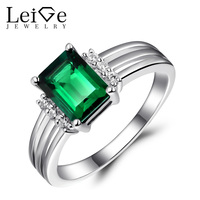 Leige Jewelry Green Rings Silver 925Jewelry Emerald Gemstone Wedding Engagement Rings for Women Fine Jewelry Emerald Cut