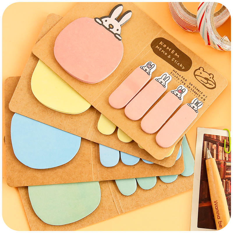 Korean Cartoon Cute Rabbit Bunny Sticky Notes Creative Post Notepad Filofax Memo Pads Office Supplies School Stationery Scratch