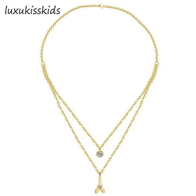 Luxukisskids fashion double chain necklace with eiffel tower pendant luxukisskids fashion double chain necklace with eiffel tower pendant jewelry necklacegoldsilver color aloadofball Images