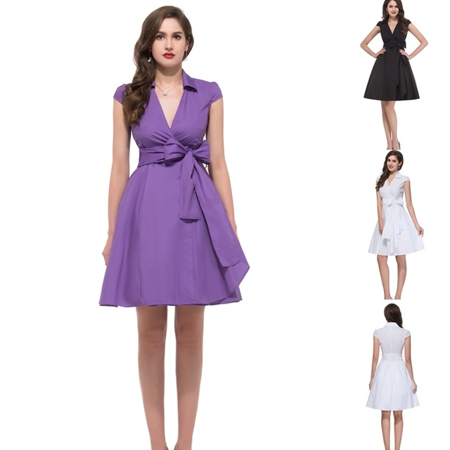 Black White Purple Party Dresses V Neck Sexy Dress Ball Gown 5 Size Women  Casual Office Dresses Brand Shirt Dress CL6087 ed63876668