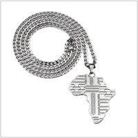 כסף אופנתי חדש מצופה תליון אפריקה מפה שרשראות שרשרת קישור קובני שרשרת סוודר תכשיטי שרשרות יוניסקס