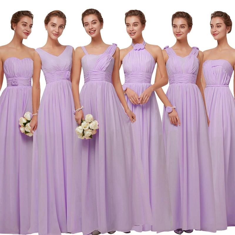 Beauty Emily Purple   Bridesmaid     Dresses   2018 Chiffon Long A-Line Sleeveless Wedding Party Prom Girl   Dresses   party   dress