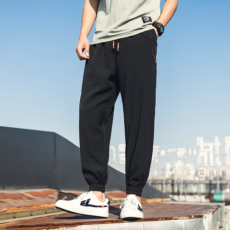 Men's Pants Elastic-Waist Comfortable Jogging Sports Cotton Summer Fashion Thin Casual