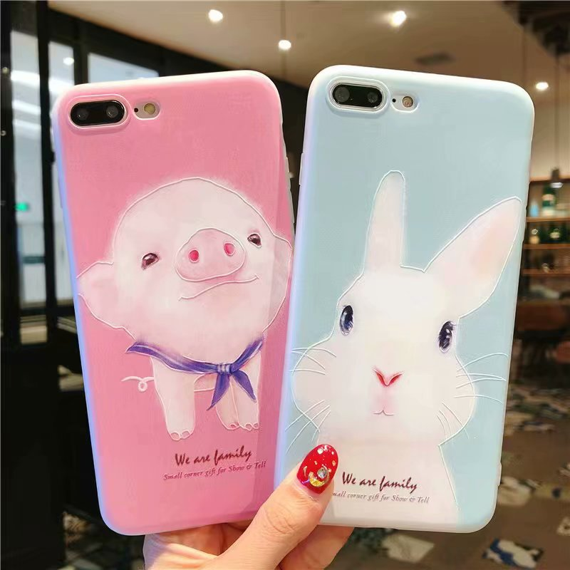 NiceKing Phone Cases For iPhone 6 6S 7 8 Plus Case Silicone Cute Cartoon Rabbit Pig Soft TPU Back Cover Case For iPhone X 6 7 8 iPhone