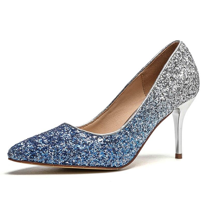 Mince 67 7 2018 Chaussures Nouveau Bout Femmes 7 Femme Xaxbxc D'été Pompes ylt Parti 67 Ylt Bling Paillettes Pointu Mariage De Mode Talons Hauts VGqpLSjMUz