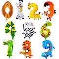 1 Unids Animal Número Foil Globos Inflables Boda Decoración de Feliz Cumpleaños Globos de Aire Globo de la Fiesta de Regalos de Los Niños
