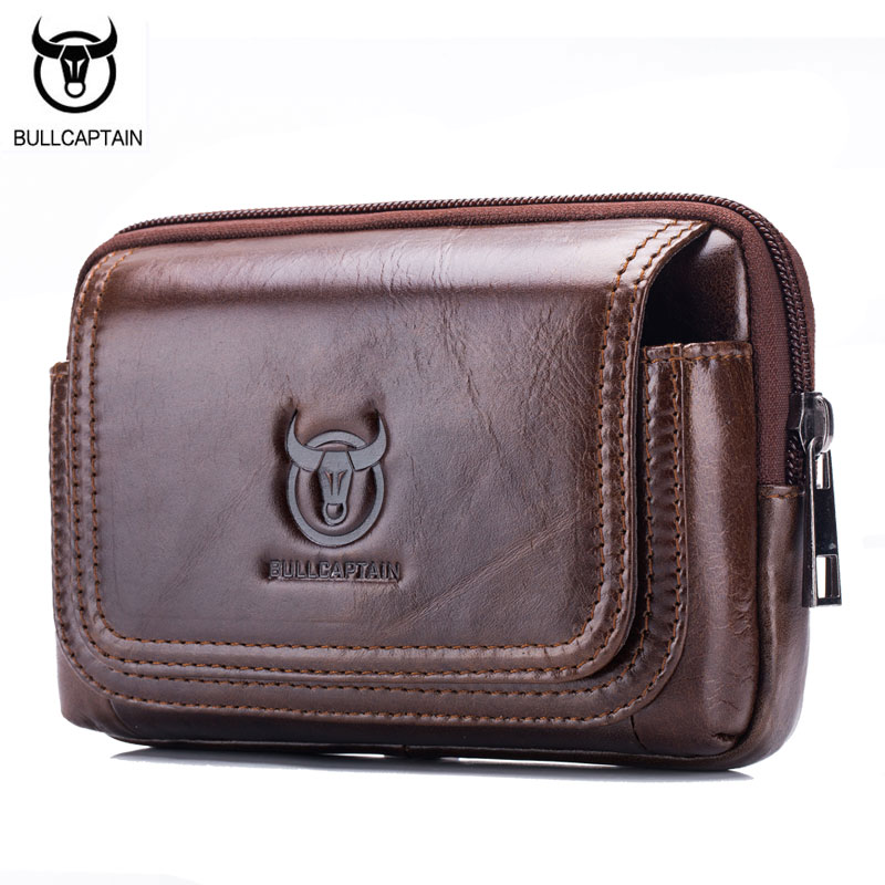 BULL CAPTAIN Fashion Genuine Leather Men Waist Packs Cow Leather Small Pocket Sling Cigarette Bag ,5 Inch Mobile Phone Bag Male