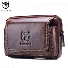 BULL CAPTAIN Fashion Genuine Leather Men Waist packs Cow Leather Small Pocket Sling Cigarette Bag ,5 inch Mobile Phone Bag Male