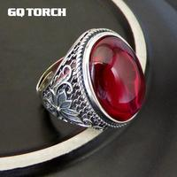 Real Pure 925 Sterling Silver Exaggerated Large Natural Stone Vintage Rings For Women Inlaid Corundum Garnet