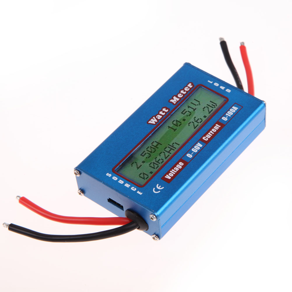 LCD Digital Current Energy Meter DC Power Analyser Watt Volt Amp Meter Ammeter 12V 24V Solar Wind Analyzer