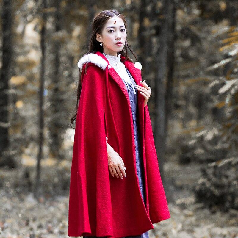 Dames Outwear Qualité Chaud À Pardessus red Blue Laine Long De vent Veste Femmes Hiver Automne Coupe Capuchon Vintage Manteau Femme vwp1qzO